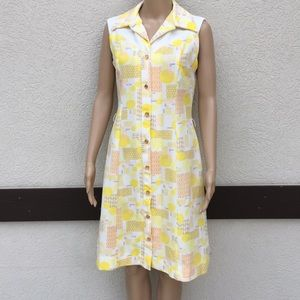Vintage dress double knit polyester mod yellow